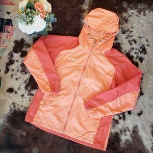 Columbia Coral Hoodwd Rain Coat Size Large